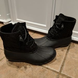 Sperry Saltwater Quilted Rain Boot Black Size 9